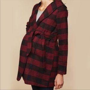 Motherhood Maternity Black & Red Winter Coat